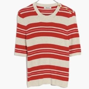 Madewell Ribbed Short Sleeve Striped Sweater